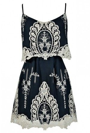 Lily Boutique - Macrame Antique Lace Navy and Beige Designer Dress $68