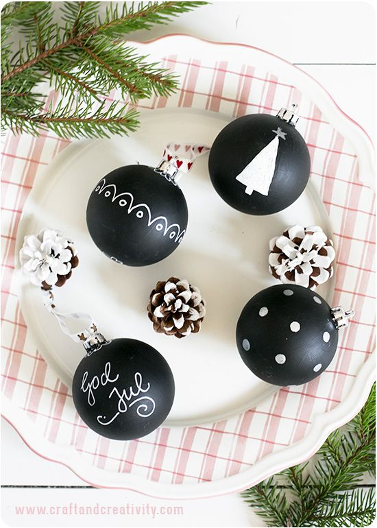 Painted Christmas baubles with blackboard paint - by Craft & Creativity - with name for your place on the christmas table.