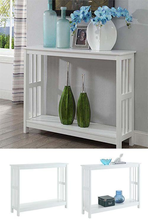 ICYMI: Narrow Entryway Wood Console Table Furniture Hallway Accent Transitional White