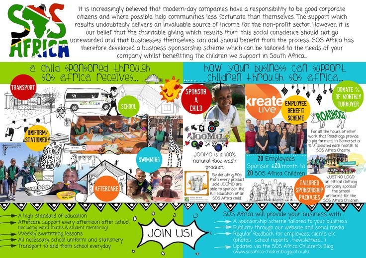 SOS Africa has designed a Corporate Sponsorship Scheme for businesses. We tailor the scheme to the different types of businesses that want to support #SOSAfrica #childrenscharity #CorporateSponsorship #businesses http://www.sosafrica.com/corporate-charitable-giving-scheme.htm