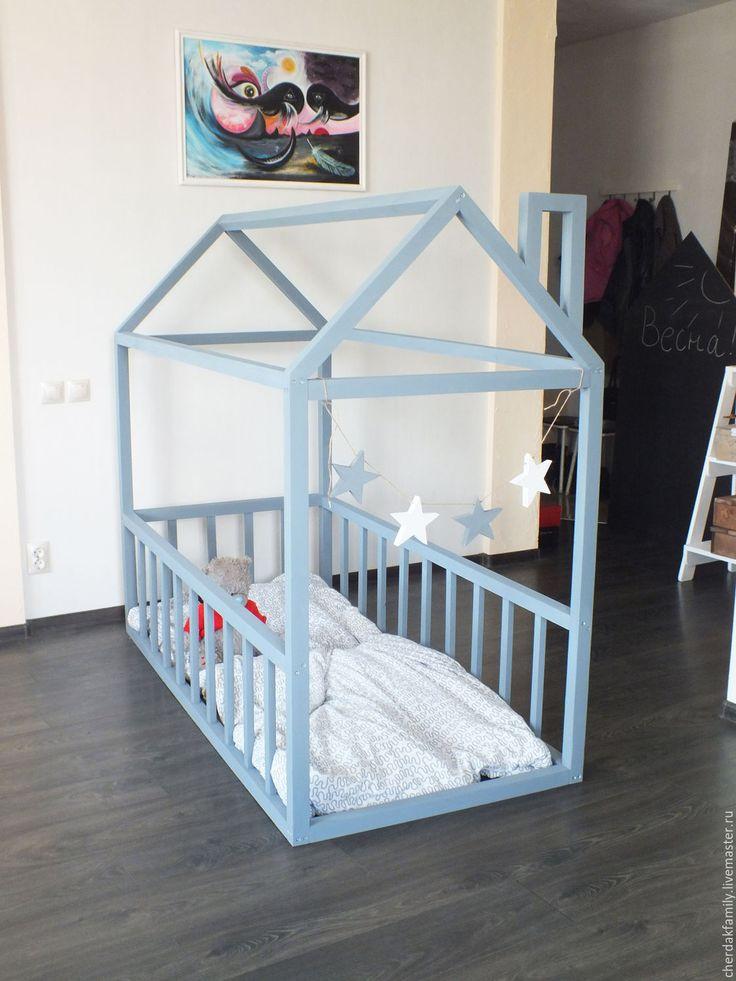 Купить Деревянная кровать-домик серая - серый, детская, детская комната, детская мебель, кровать