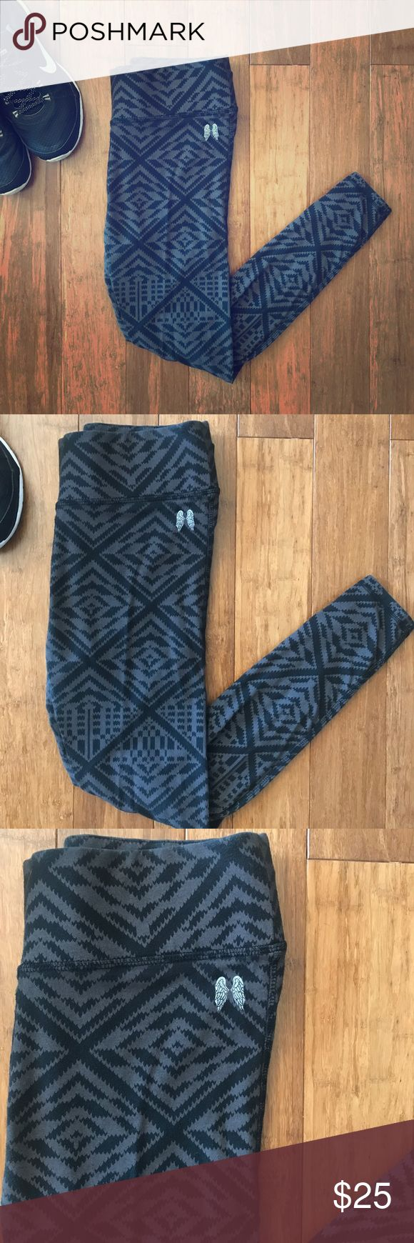 Victoria's Secret Aztec Print Anytime Leggings Victoria's Secret Aztec Print Anytime Leggings - Size Small/Short. Cotton Blend Leggings; Black and Gray Aztec print. 52% Cotton; 35% Polyester; 13% Elastane. Only worn once or twice! Perfect for working out or lounging! Victoria's Secret Pants Leggings