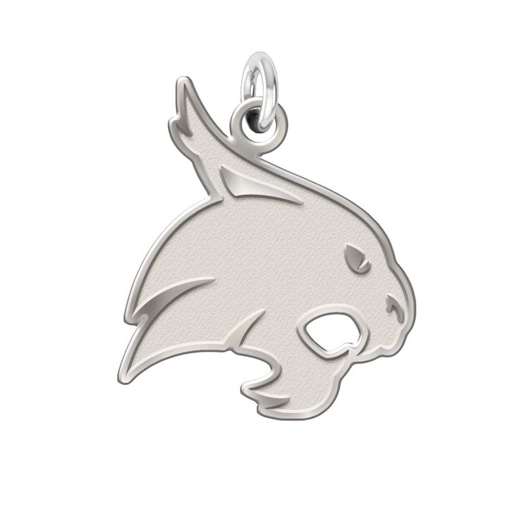 Texas State Bobcats Charm made in solid sterling silver with a natural finish. Texas State charms can be worn on a chain or dangle them from a bracelet. Our jewelry has the finest detail and are the h