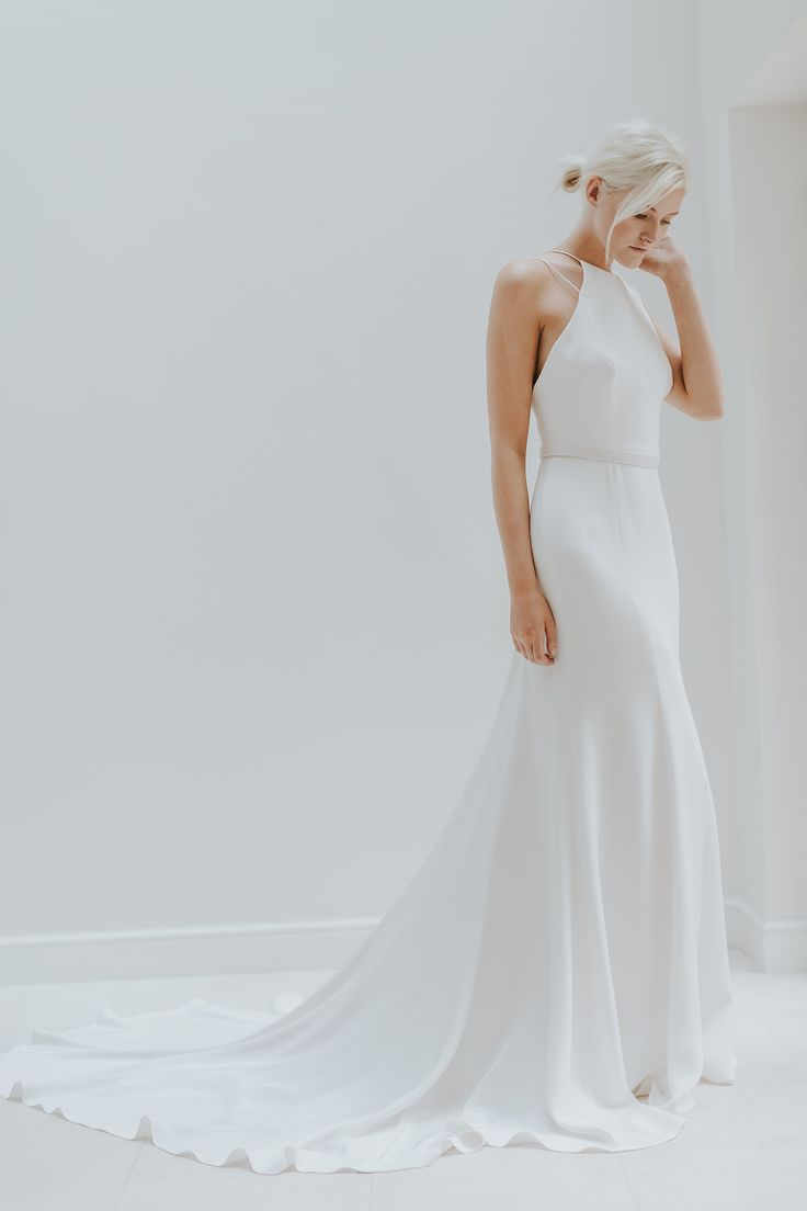 Halter neck silk crepe wedding dress by Charlotte Simpson