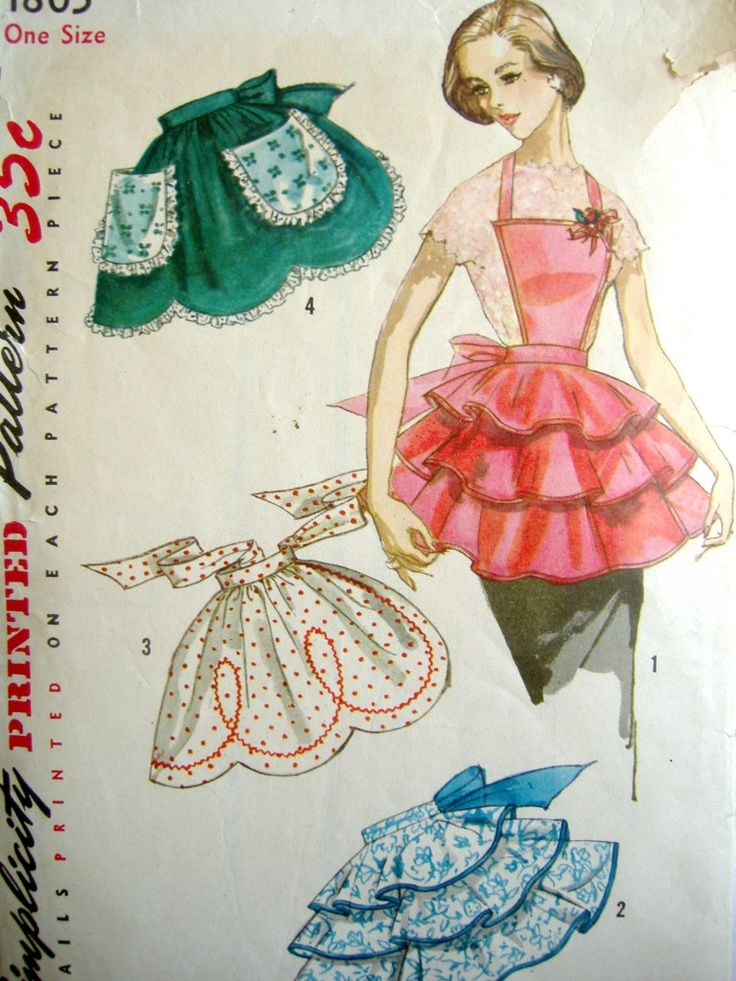 Vintage Simplicity ruffled cocktail aprons pattern