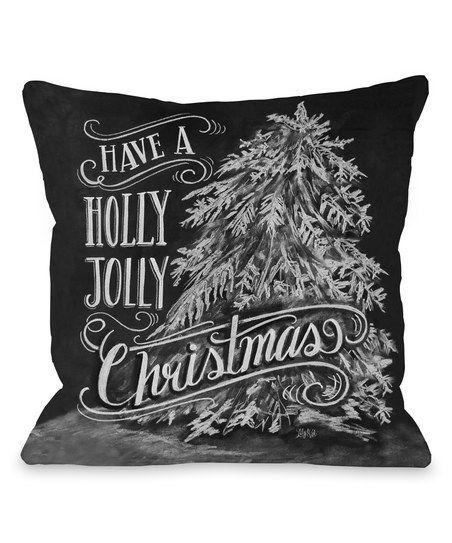 'Holly Jolly' Christmas Tree Throw Pillow