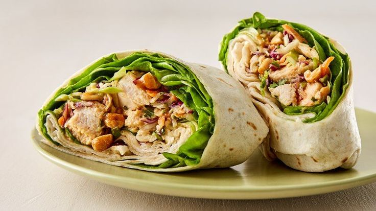 Thai Chicken Salad Wraps - Chicken salad infused with Thai flavors all rolled up in a wrap.