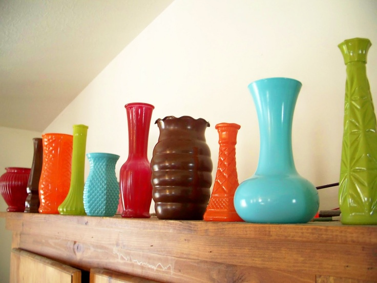 hazel and company: Thrifty Thursday: Bright & Funky Spray Painted Vases {with Half-Baked Tutorial}