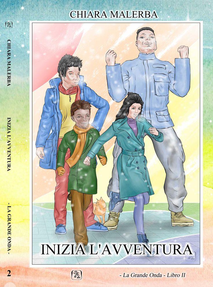Inizia L'Avventura: copertina del libro. La Grande Onda - Libro 2: Anna, una ragazza diciassettenne italo-giapponese, si trova catapultata in un mondo sconosciuto su di un altro pianeta. Inseguita da un gruppo di esseri molto diversi da lei sia nell'aspetto che nel comportamento, si imbatte per caso in cinque persone che la aiutano a mettersi in salvo.  #chiaramalerba #libridifantascienza #libri #romanzi #fantascienza #lagrandeonda #illustrazioni