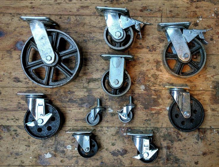Industrie- möbel metall rollen mit gusseisen rolle scheibe retro verfügbar | eBay