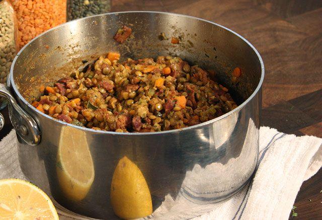 Lentilles aux lardons WW, recette d'un bon plat de lentilles riche et gourmand, très facile à réaliser pour un repas sain et rassasiant.