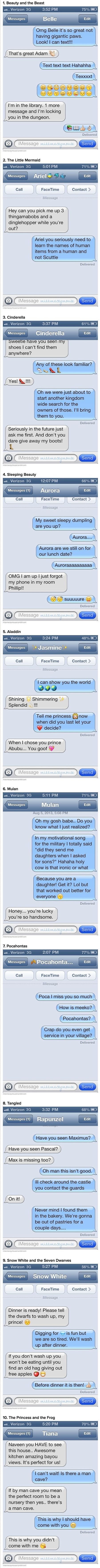 Here are some funny and weird text messages from Disney princesses to their princes.