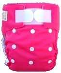 Happy Babes PINK An All-In-One Nappy is a Modern Cloth Nappy (MCN) where the insert is sewn together with the outer cover. The All-In-One Nappy can be used from birth to toilet training. All-In-One Nappies consist of a waterproof outer which is usually a polyurethane laminated polyester and a cotton micofibre lining that is extremely soft against the baby's skin. They also have a pocket where additional inserts can be added to the nappy for extra absorbency. PACKAGES AVAILABLE