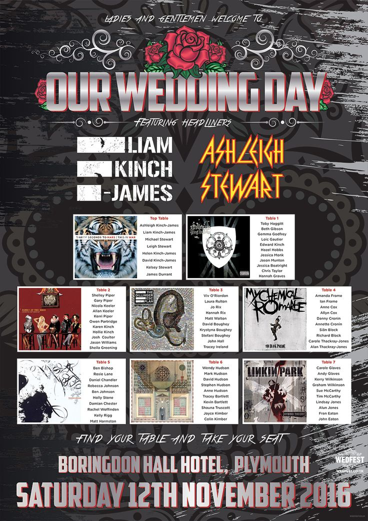 heavy metal rock n roll wedding table plan http://www.wedfest.co/rock-and-heavy-metal-influenced-wedding-table-plans/
