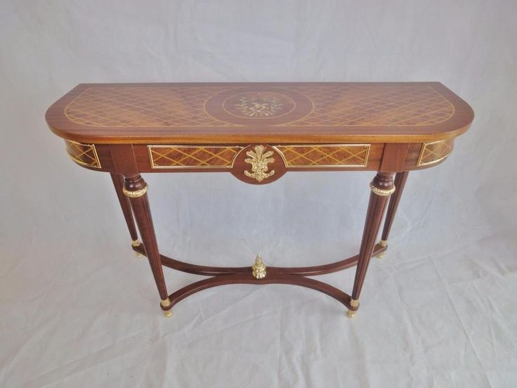 Antique French Louis Adam Style Mahogany & Walnut Inlaid Console Hall Table