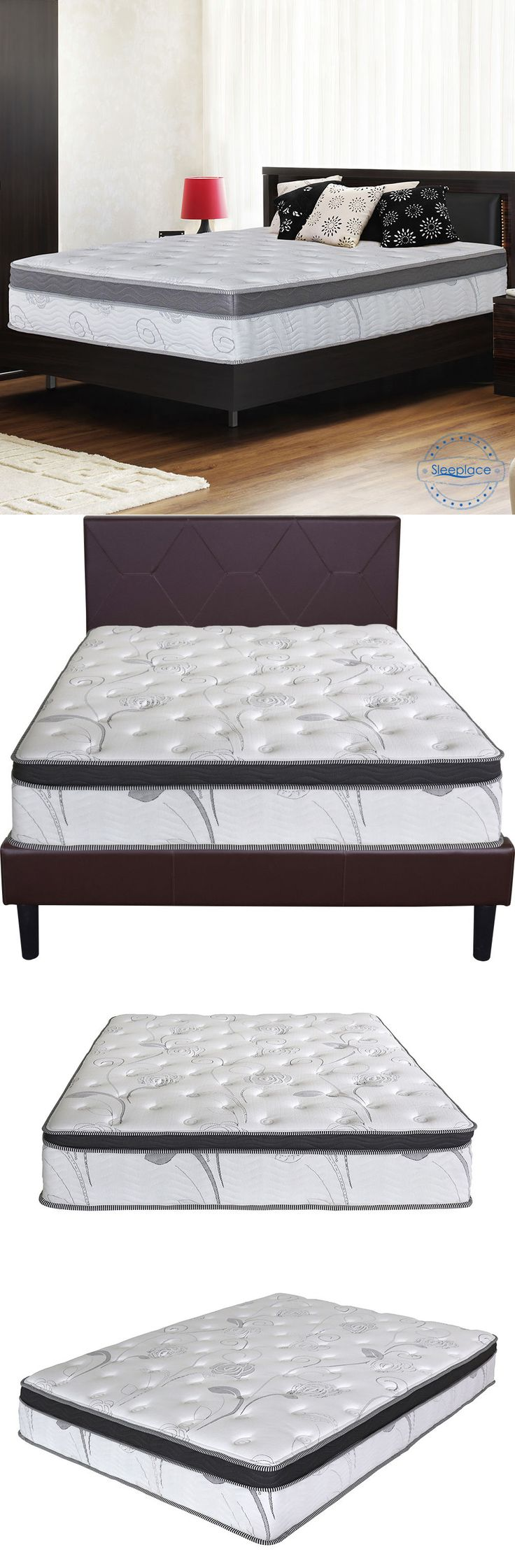 Bedding: Sleeplace 13 Euro Box Memory Foam Top Spring Mattress, Bed, Full Queen King BUY IT NOW ONLY: $266.77