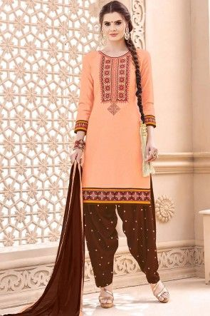 6574d88d49 punjabi #Suits #Online - Peach Cotton Patiala suit | Patiala Suits ...