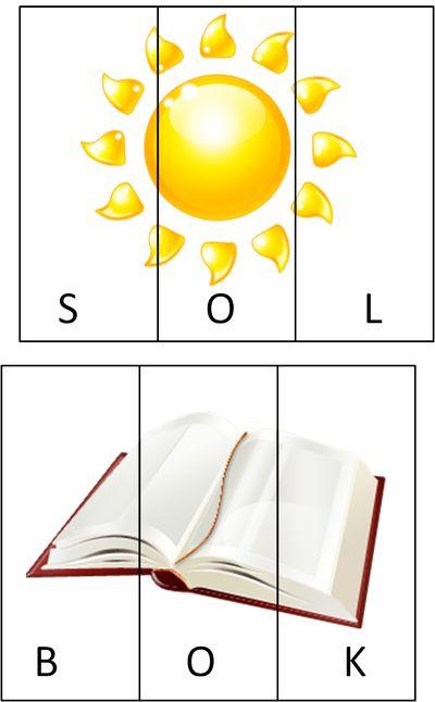 Stavningspussel. Fick av Maria detta tips. Klipp isär bilderna i tre delar så ska barnet pussla ihop orden/bilderna. Man kan även lägga roliga bilder och läsa vilka nya ord det blir.Materialet…