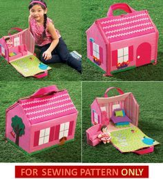 Sewing Pattern to Make    Fun Doll House for Special Kids!    Sewing Patterns included for:  fold up doll house with carry handle, zippers to hold