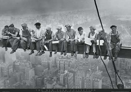 """29 Sept 1932 - """"Lunch Atop a Skyscraper"""" by: Charles C. Ebbets - during construction of the RCA Building, Rockefeller Center, New York - 20 inch beam - 800 feet up - 69th floor"""