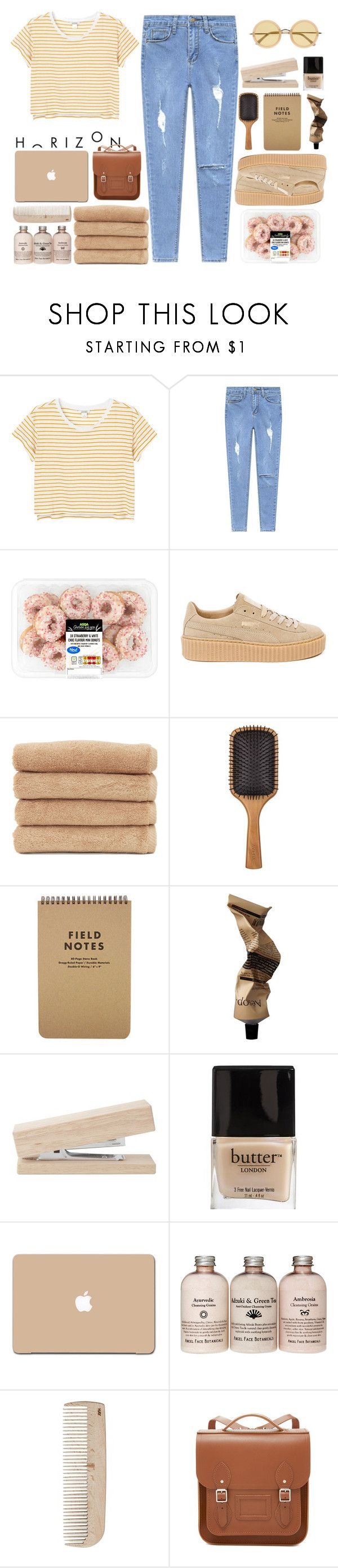 """""""h"""" by sofhiree20 ❤ liked on Polyvore featuring Monki, Puma, Linum Home Textiles, Aveda, Aesop, Butter London, 3M, HAY, The Cambridge Satchel Company and Linda Farrow"""