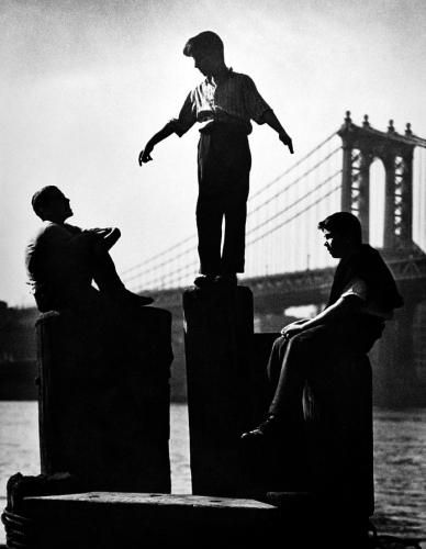 Boys on East River Pier, 1947 by Harold Roth