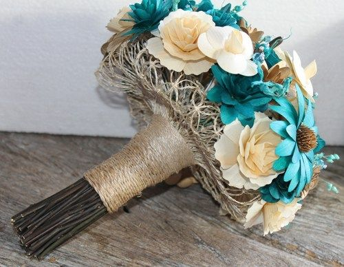 Brown And Teal Wedding Ideas: Teal Ivory Brown Copper Rustic Wood Bouquet