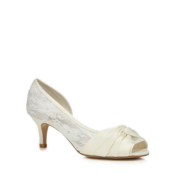 3aec4ecafea9 Debut Ivory lace  Dani  mid heel wide fit peep toe shoes