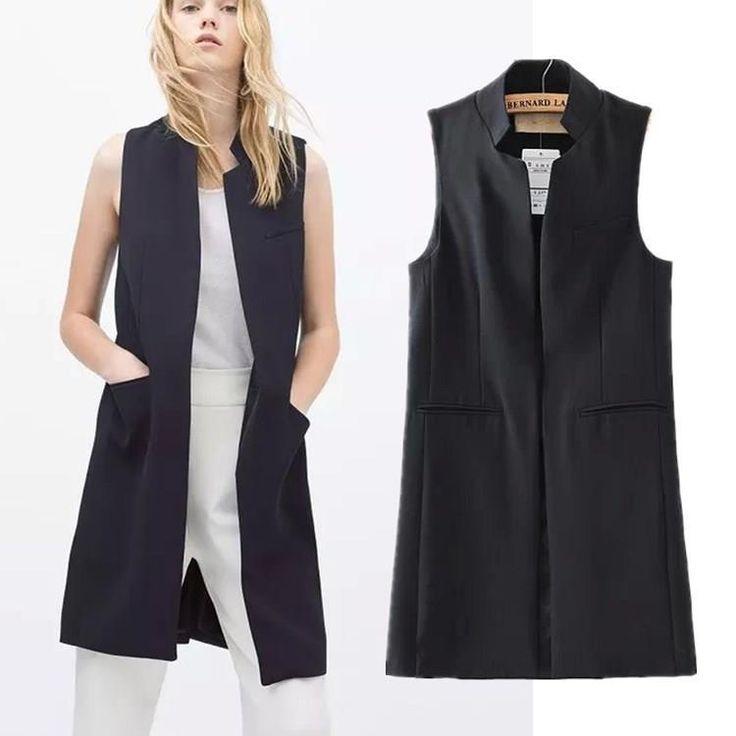 Nuevo estilo primavera / verano 2015 mujeres soporte de cuello largo chaleco de traje negro blanco azul oscuro con dos bolsillos en Chalecos de Moda y Complementos Mujer en AliExpress.com | Alibaba Group