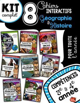 8 cahiers interactifs en Géographie et Histoire: Iroquoiens, Incas, Algonquiens, Nouvelle-France, Seigneurie et bien plus. Profs et Soeurs