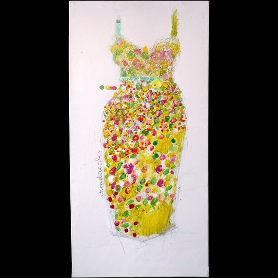 Carnival Gown, Original Painting, Carnival Dress, Mardi Gras, on Etsy, $950.00