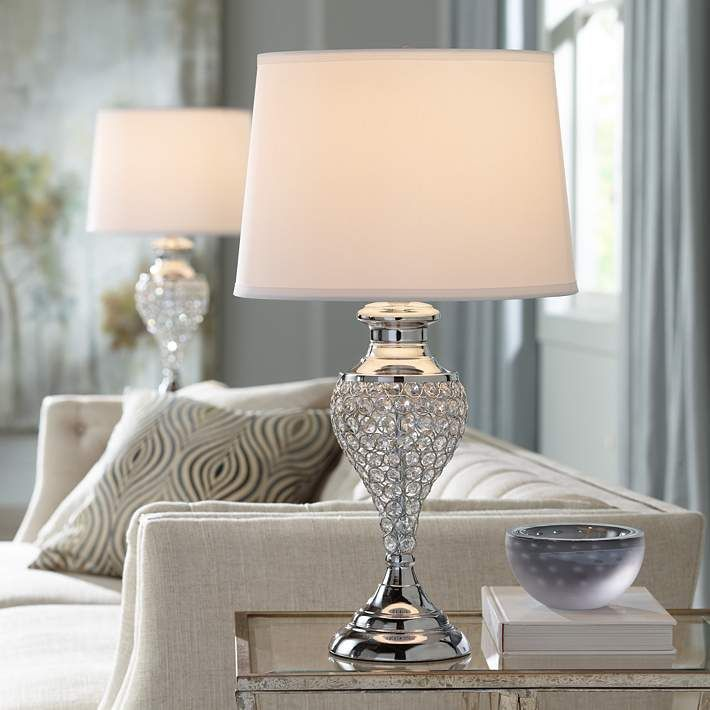 Glitz And Glam Polished Chrome Urn Table Lamps Set Of 2 35a20