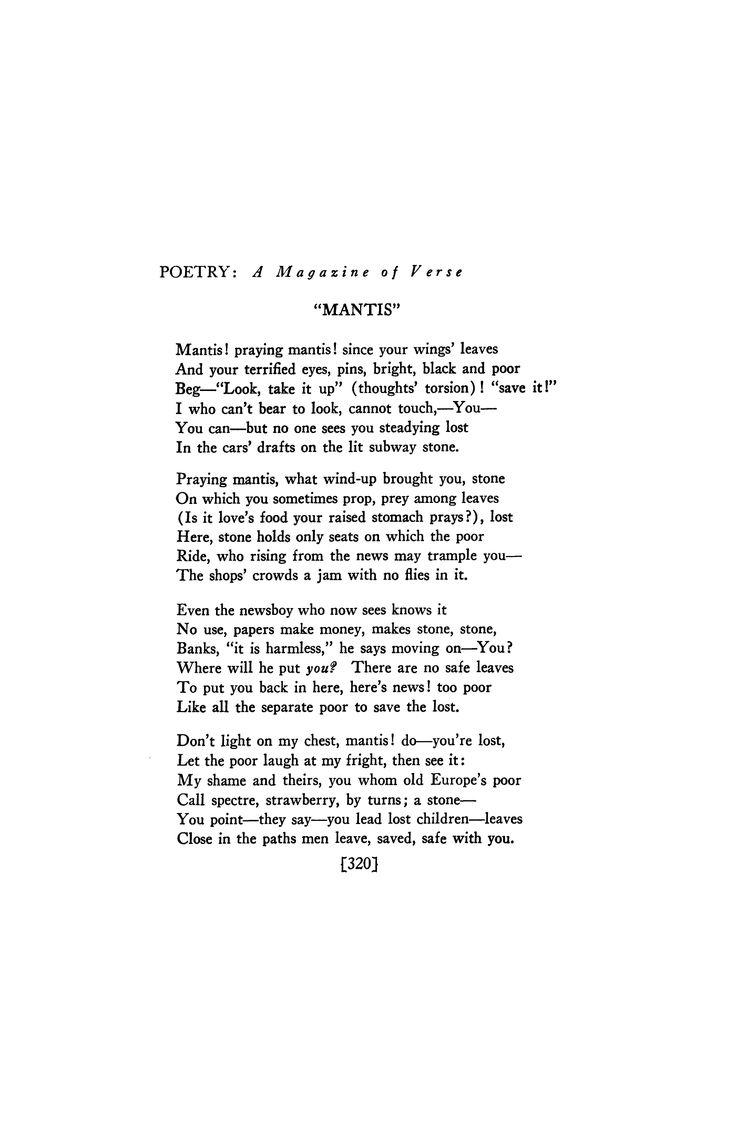Mantis by Louis Zukofsky   Poetry Magazine