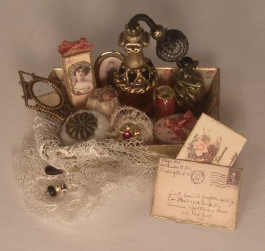 Perfume Tray #4 by Manuela Herbst - $84.00 : Swan House Miniatures, Artisan Miniatures for Dollhouses and Roomboxes