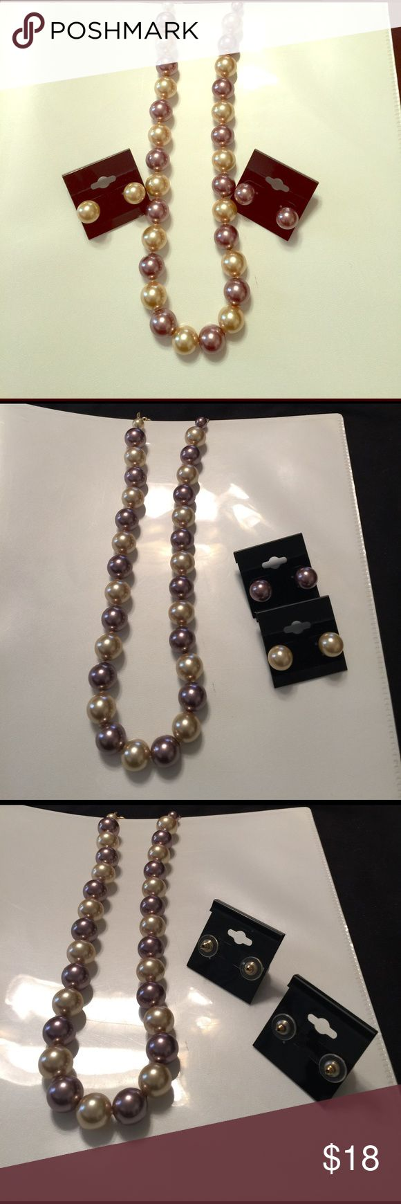Necklace and earrings have never been worn. Pearl necklace cream and light purple with gold chain. Matching earrings. qvc Jewelry Necklaces