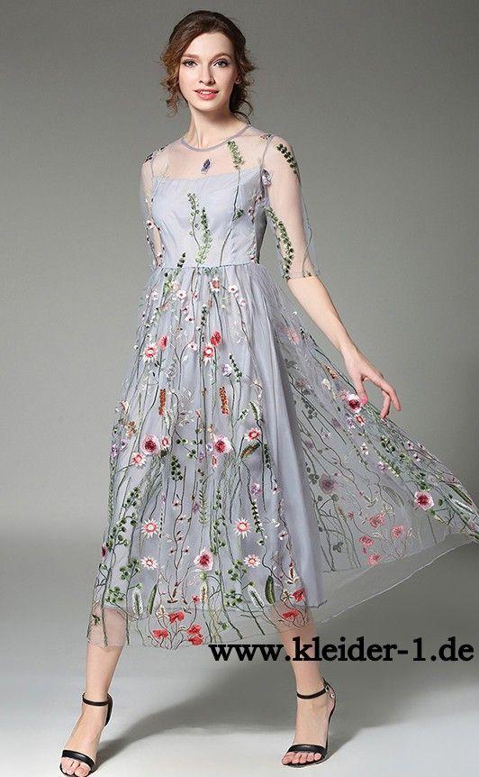 Besticktes Organza Blumenkleid Sommer Kleid
