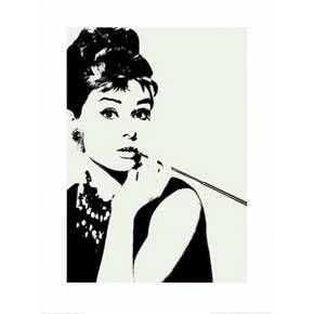 "Bring some vintage Hollywood style to your walls with the Audrey Hepburn: Cigarillo Print from Art.com. A stark, gorgeous rendering of Audrey Hepburn at her glamorous best with her signature cigarillo and holder from ""Breakfast at Tiffany's,"" this striking image is printed on high-quality acid free paper. Available as a single print, mounted print or framed print, Audrey Hepburn: Cigarillo will turn heads and brighten the decor of your home or office."