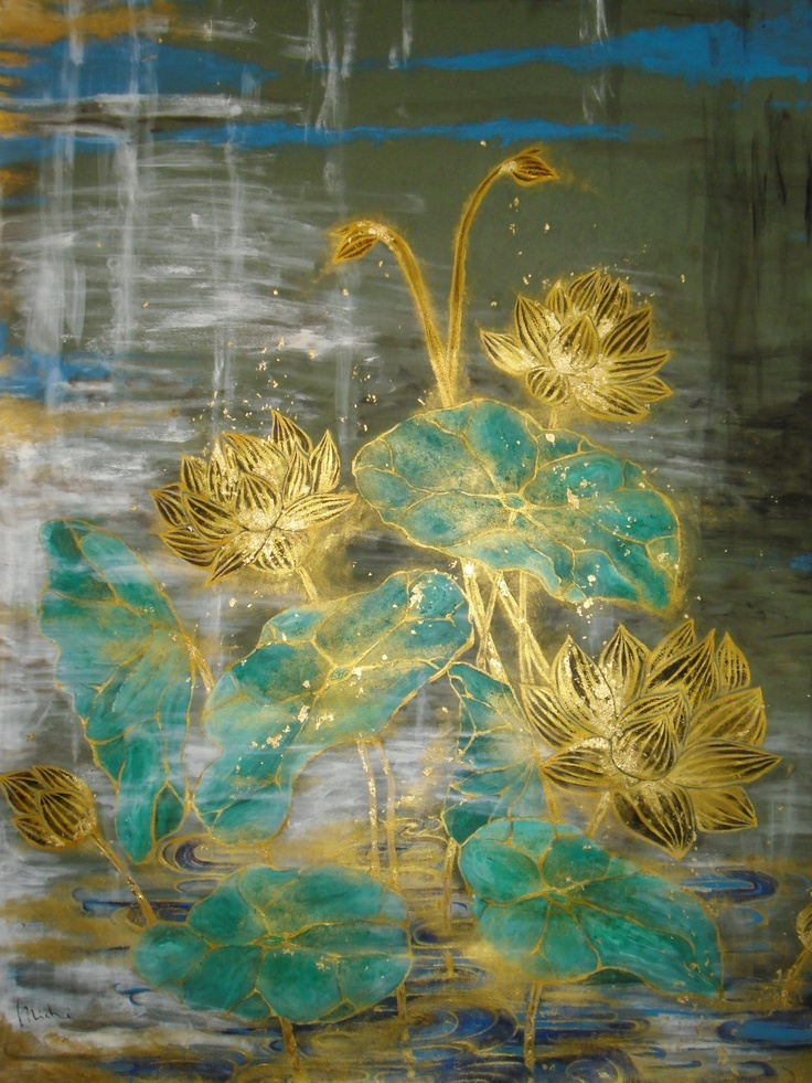 Golden rotus,  using 3 tipes of gold and flake      100cm x 70cm