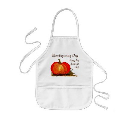 Pumpkin Kids Thanksgiving Day Assistant Chef Name Kids' Apron - custom diy cyo personalize gift idea