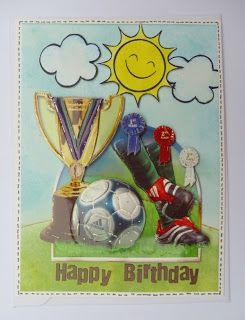 """Eine Karte mit den Lawn Fawn Stempelset """"Sunny Skies"""". Die Karte ist für einen kleinen Fußballfan zum Geburtstag"""