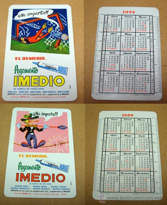 Calendarios de bolsillo.