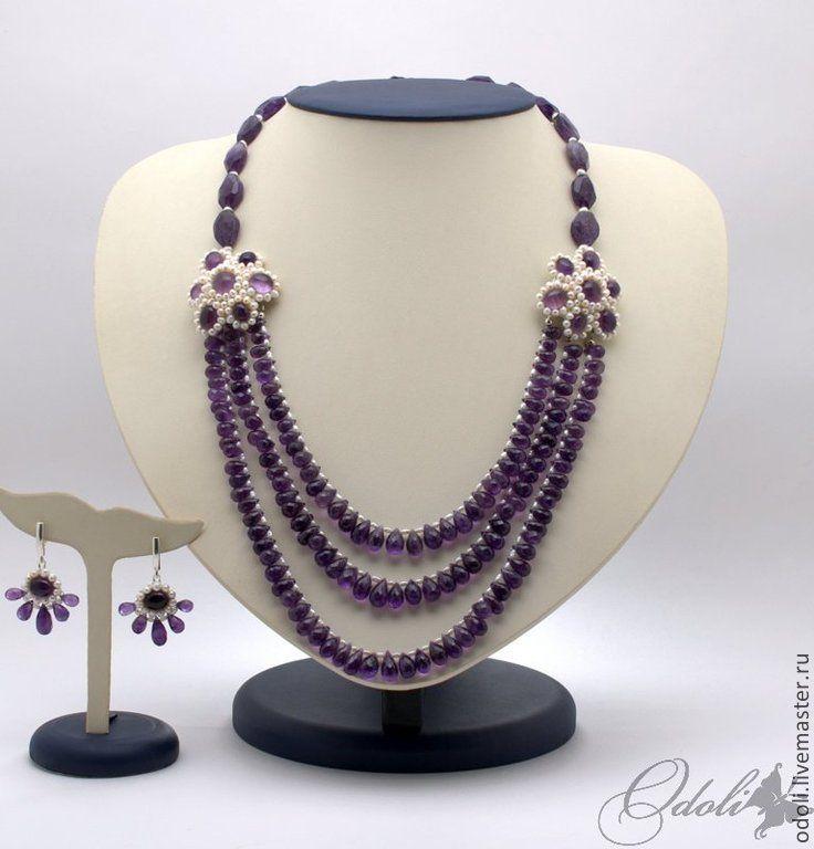 Колье и серьги с аметистом и жемчугом Фиолетовые блики. Handmade.