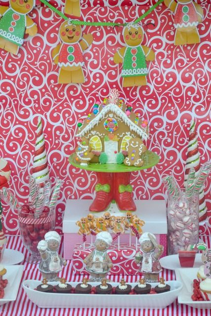 Cute gingerbread house dessert table! See more party ideas at CatchMyParty.com. #gingerbread #partyideas
