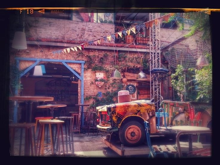 """Szimpla Kert, the most famous """"ruin"""" pub in Budapest. It is considered the epicenter of Budapest nightlife.  A place you cannot miss if you visit this city!"""
