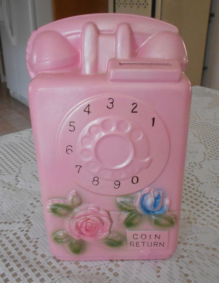 RARE Vtg shabby cottage Pink Roses chic Dial Telephone BANK Kitsch wall pocket?   | eBay
