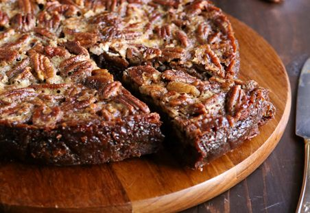 The perfect combo dessert for Ricky's birthday.  Brownies + pecan pie = One happy guy!