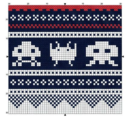 Space Invaders - free pattern for cross stitch or hama beads