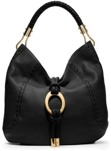 Michael Kors Collection Skorpios Black Hobo Gold Ring Leather Bag Handbag Purse #Handbag #MichaelKors - Buy New: $995.00: - Braided top handles