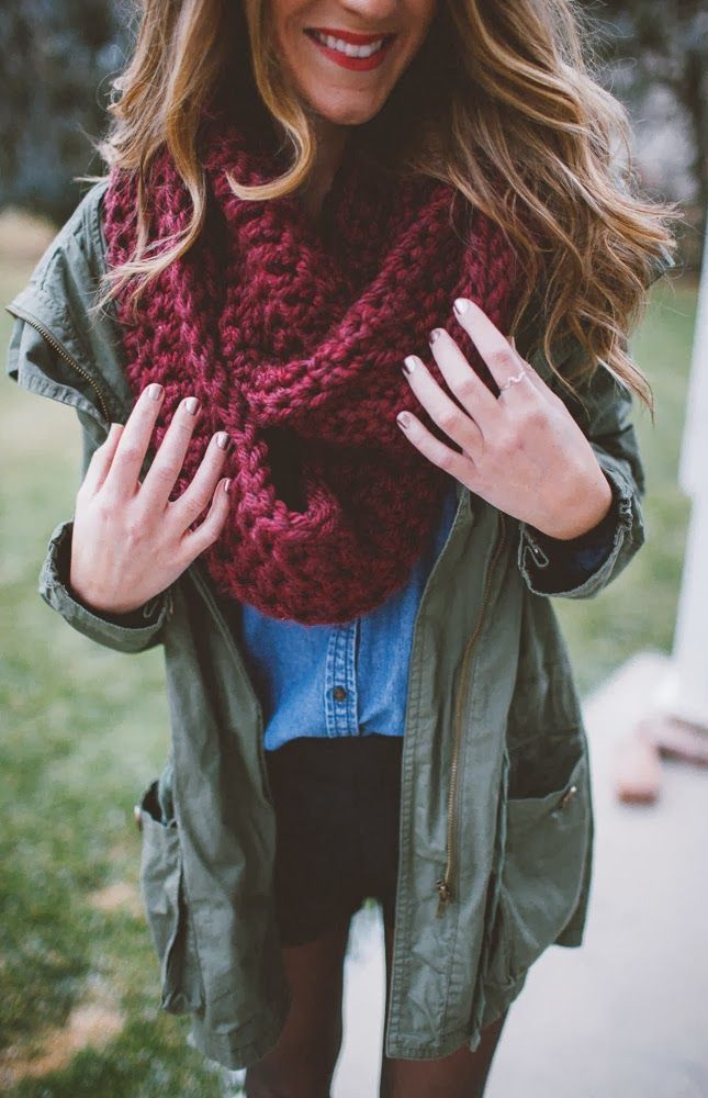 #fall #fashion / olive green jacket + red knit scarf