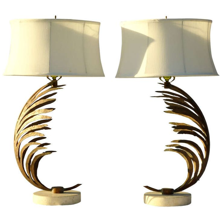 Unusual Pair of Gilt- Metal Palm Frond Table Lamps w/ Travertine Marble Base | From a unique collection of antique and modern table lamps at http://www.1stdibs.com/furniture/lighting/table-lamps/